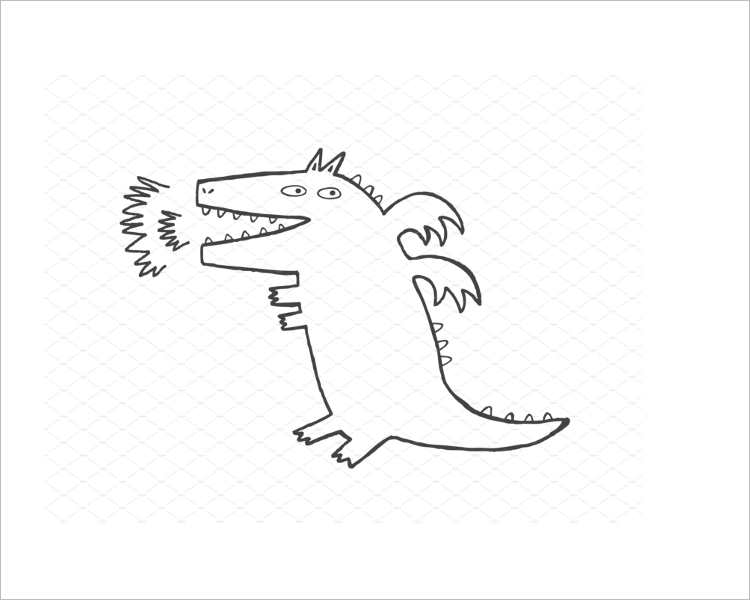 Isolated Dragon Pencil Drawing Design