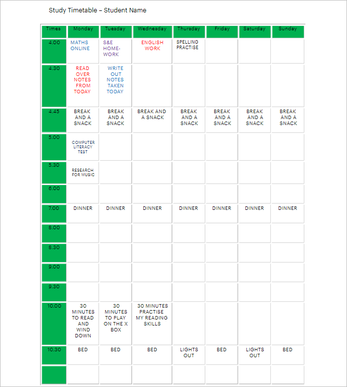 Kids Hourly Study Planner Template