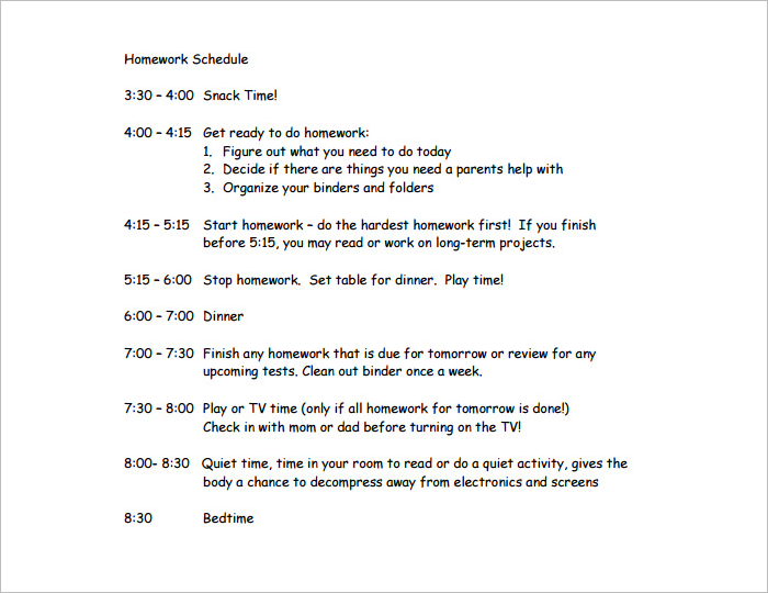 Kids Hourly Time Schedule Template