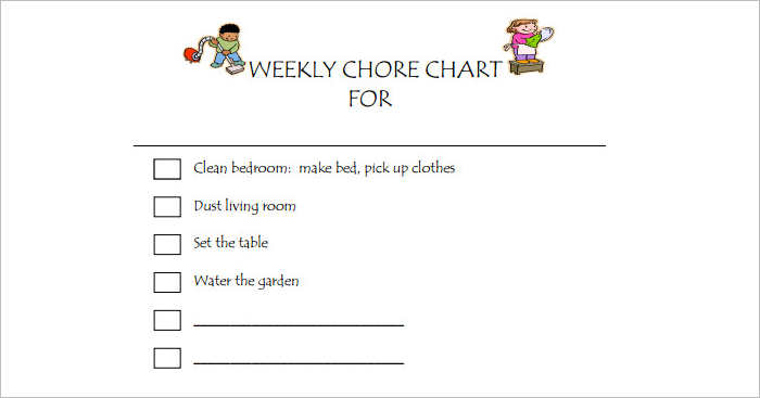 Kids Weekly Chore chart Templates PDF