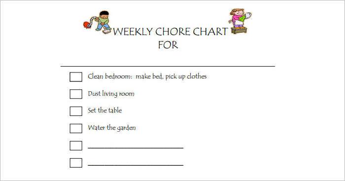 Kids Weekly Chore chart Templates PDF
