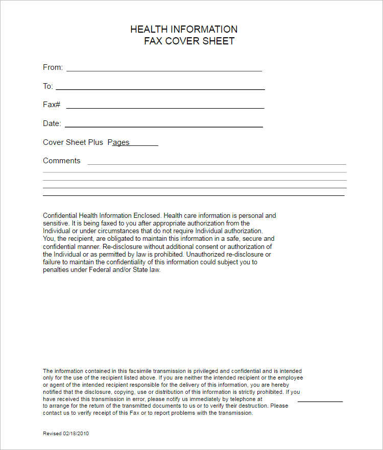Medical Fax Cover Sheet Excel Form