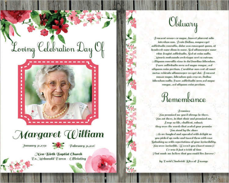 12 printable funeral card templates free word pdf psd for Funeral memory cards free templates