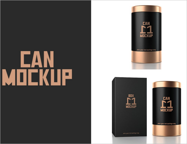 Metal Can Packaging PSD Mockup