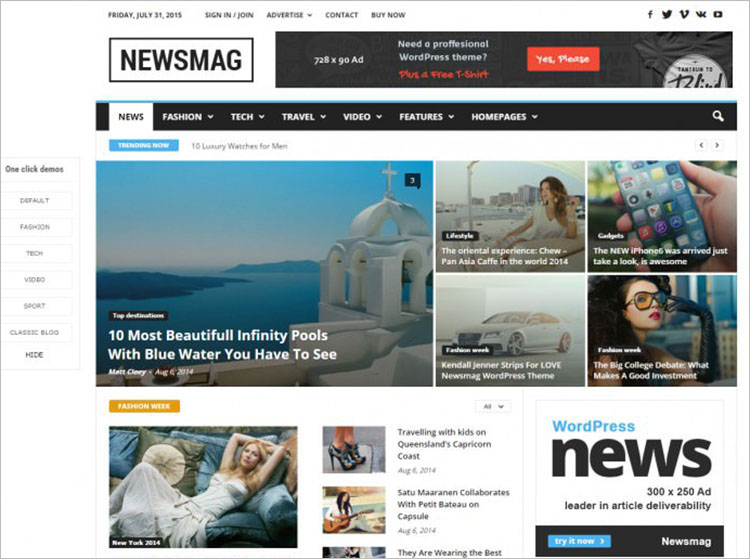 Modern News Magazine WordPress Theme