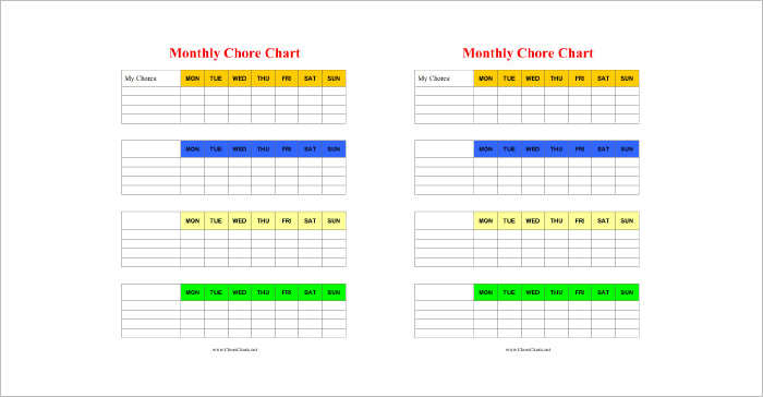 Monthly Chore Chart Templates