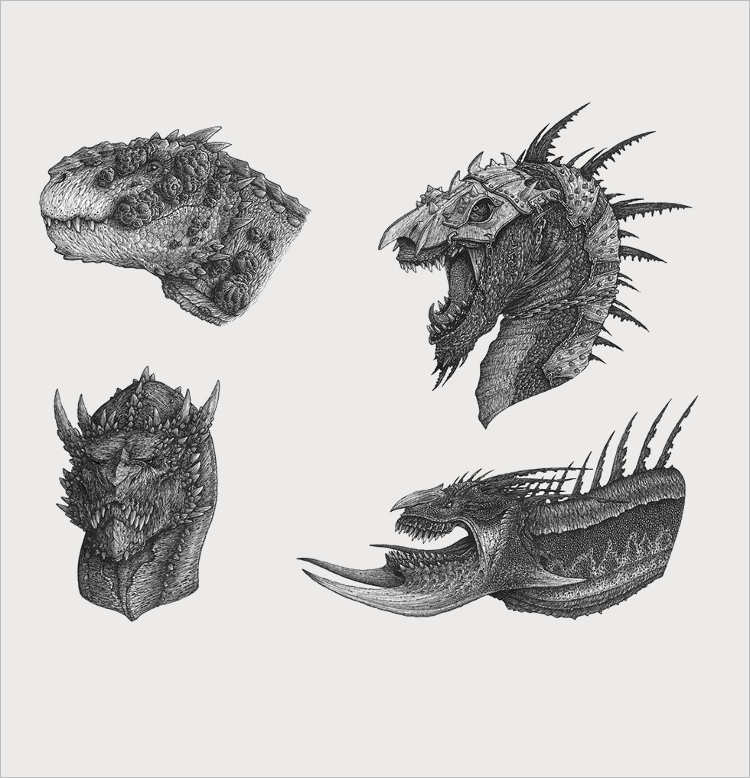 Multiple Dragon Heads Drawing Design