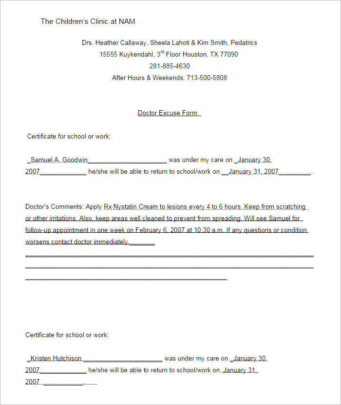 Doctors Note Template Free Premium Templates – Word Form Template