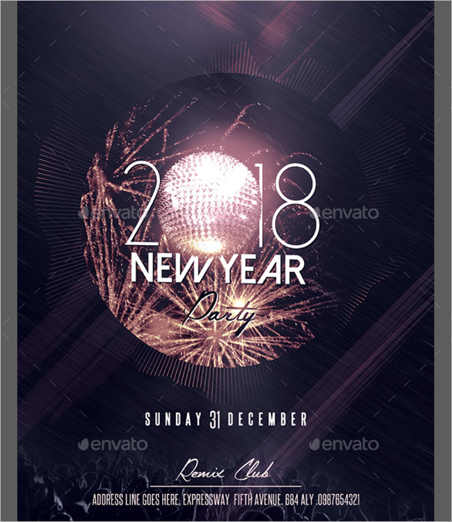 New Year Poster Template PSD