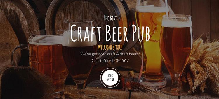Parallax Beer Pub Scrolling WordPress Theme