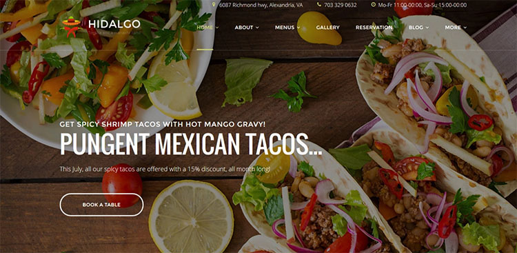 Parallax Mexican Food Scrolling WordPress Theme