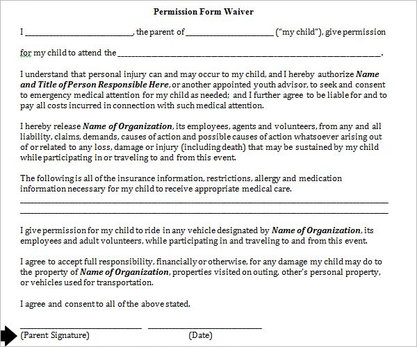 Permission Slip Form PDF