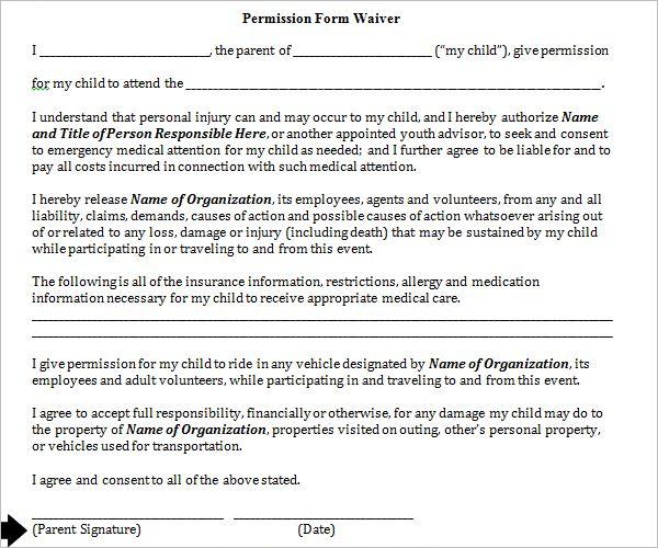 Permission Slip Form PDF