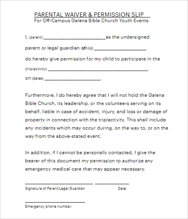 Permission Slip Template Layout