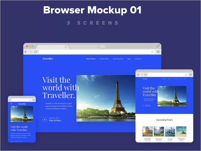 Photorealistic Web Browser Mockup Design