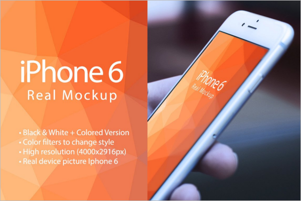 Photorealistic iPhone 6 Mockup Design