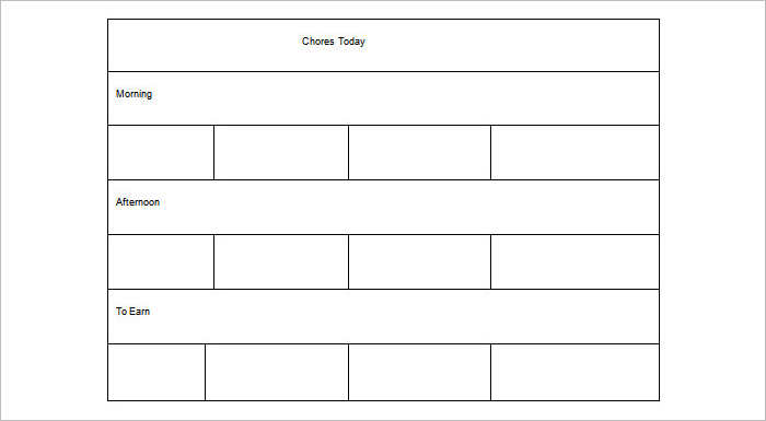 Preschool Chore Chart Templates