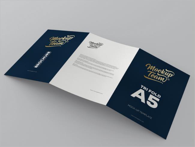 Realistic A5 Brochure Mockup Template