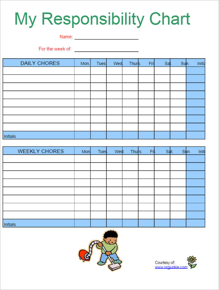 Responsive Chore Chart Templates