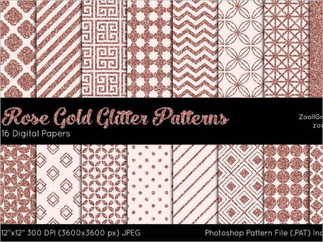 Rose Gold Glitter Digital Patterns