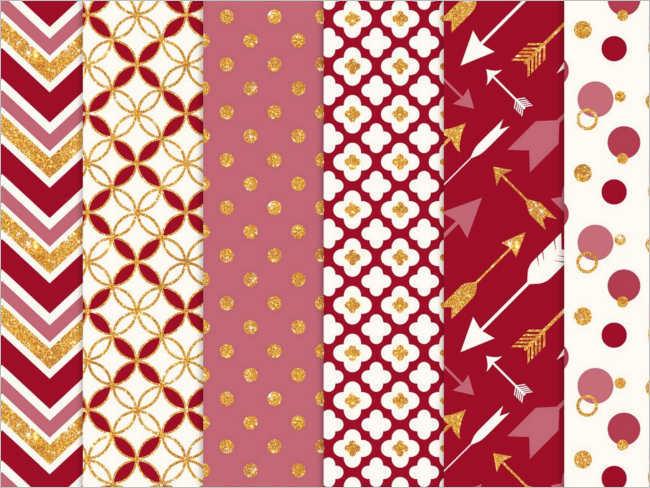 Rubyred Gold Glitter Patterns