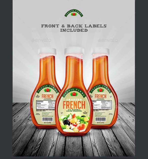 Salad Bottle Dressing Lable