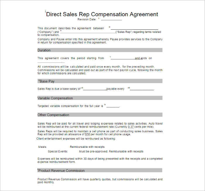Compensation Plan Template - Free Word, Pdf Documents | Creative