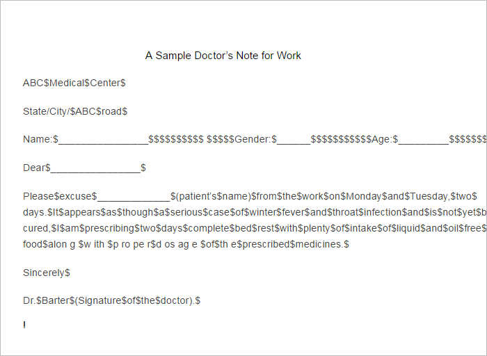Sample Doctor Note Temple Format