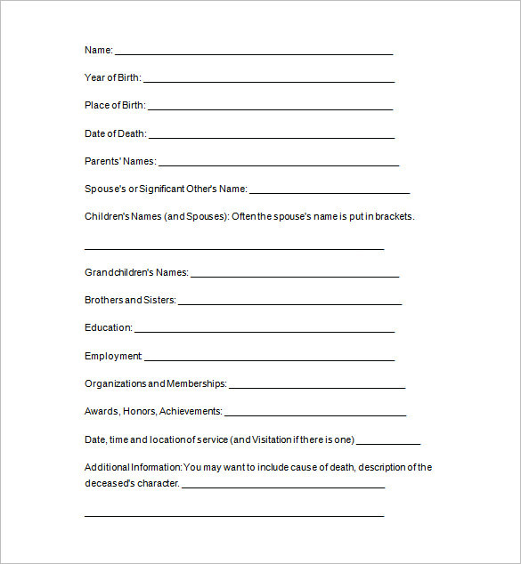 free downloadable obituary templates - 10 funeral notice templates free word pdf formats