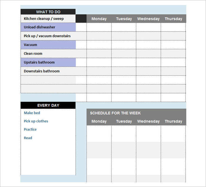 Sample Kid Chore Chat Templates