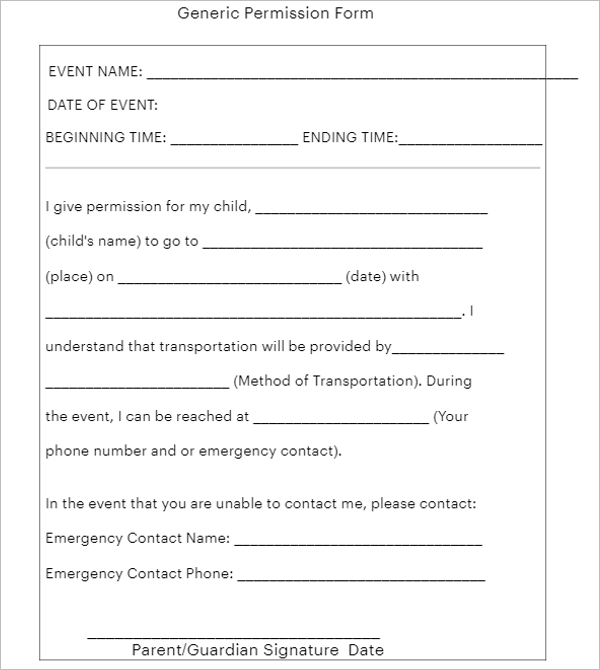 Sample Permission Slip Template