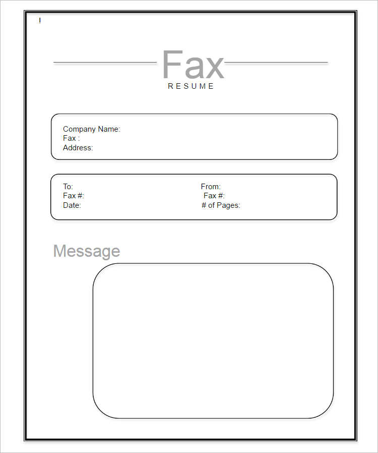 Sample Printable Fax Cover Sheet Excel