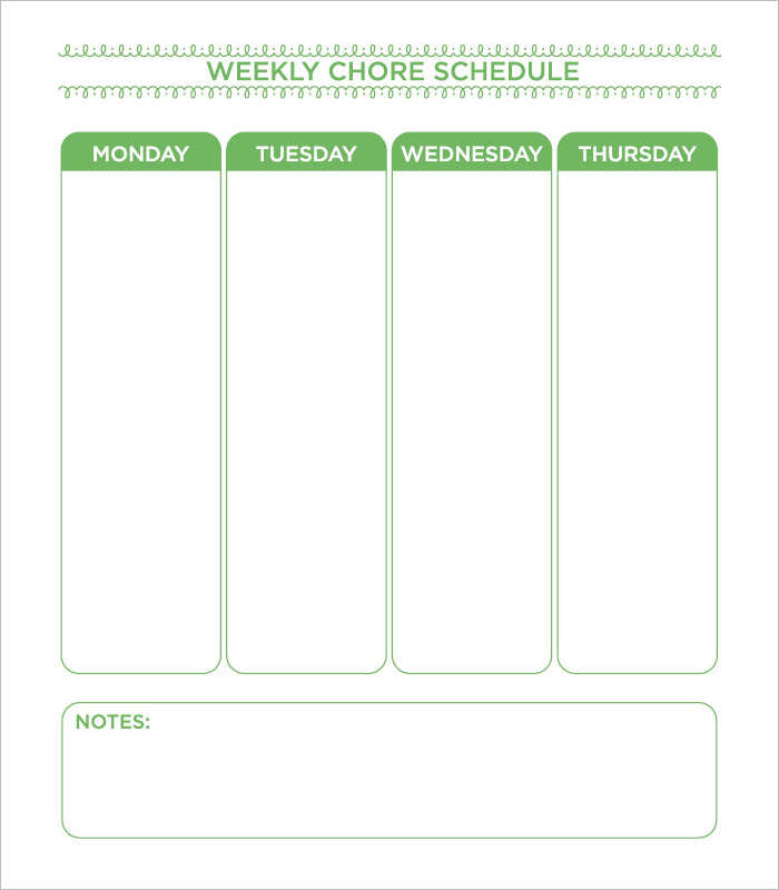 Schedule Chore Chart Template