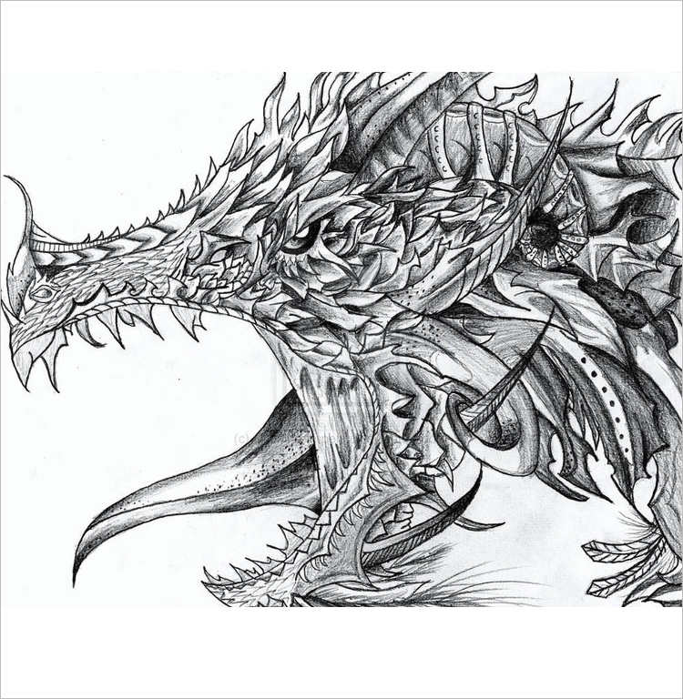 Simple Dragon Pencil drawing