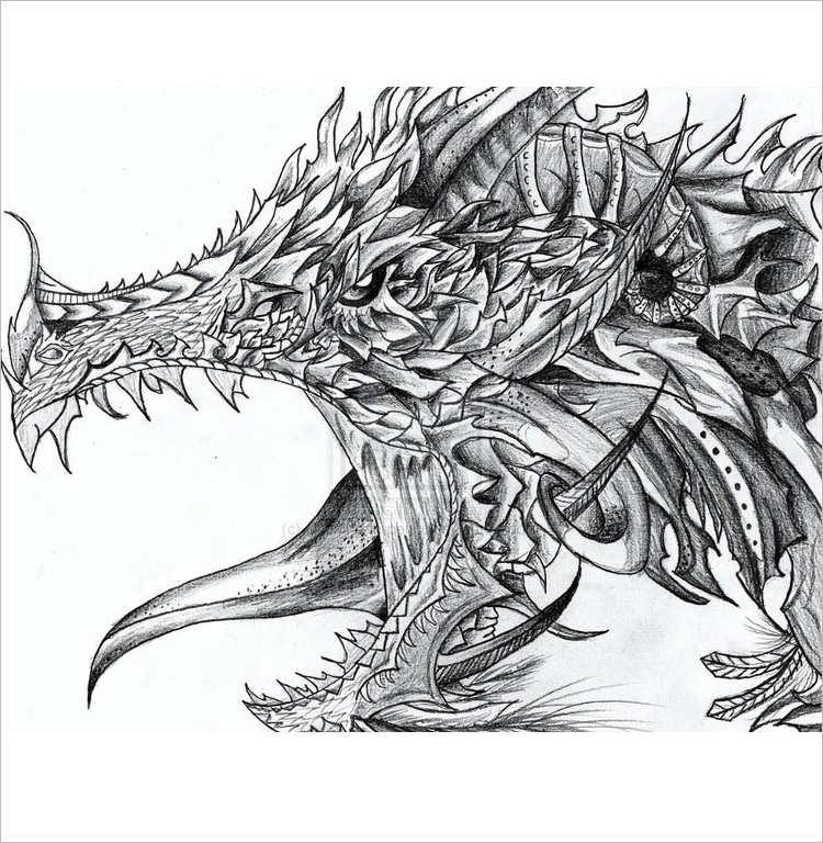 Simple Dragon Pencil drawing