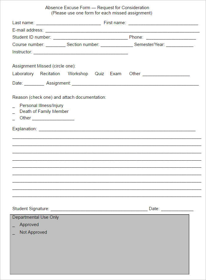 Student Doctors Note Template Pdf Format