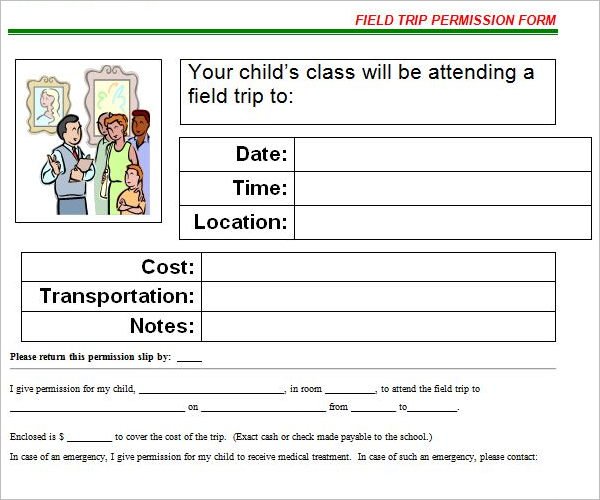 Travel Permission Slip Template