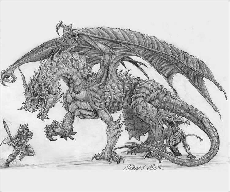 Warrior Dragon Pencil drawing
