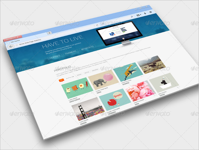 Web Browser Mockup Photoshop Design