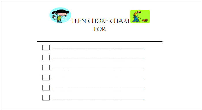 Weekly Chore Blank chart Template
