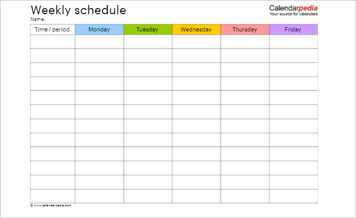 weekly hourly schedule template word