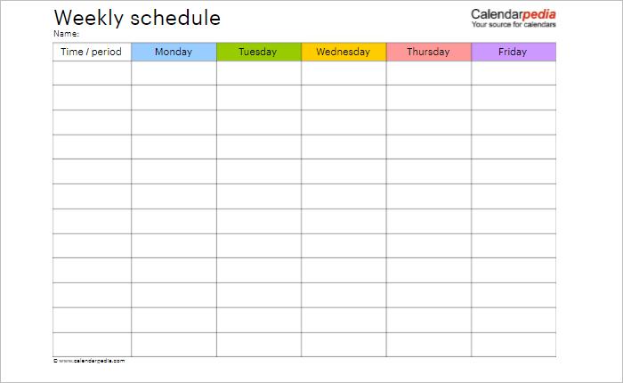Weekly Hourly Schedule Template Word