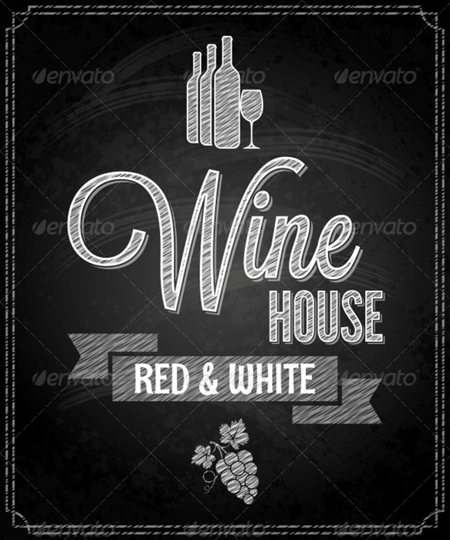 Wine Menu Chalkboard Design Background