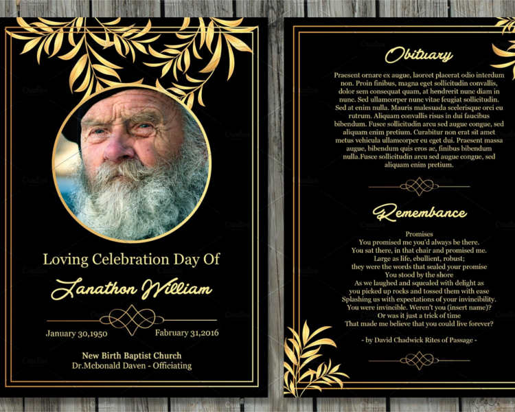 Word Funeral Card Template ...