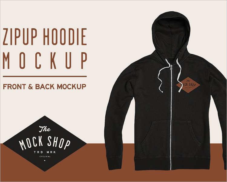 Zipup Hoodie PSD Mockup
