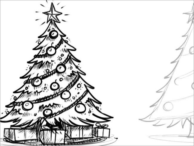 54+ Christmas Pencil Drawings Free PSD Design Templates
