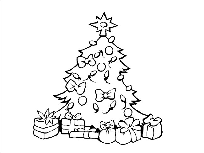 Line Drawing Christmas Tree Part  36 Minimalistic Black And