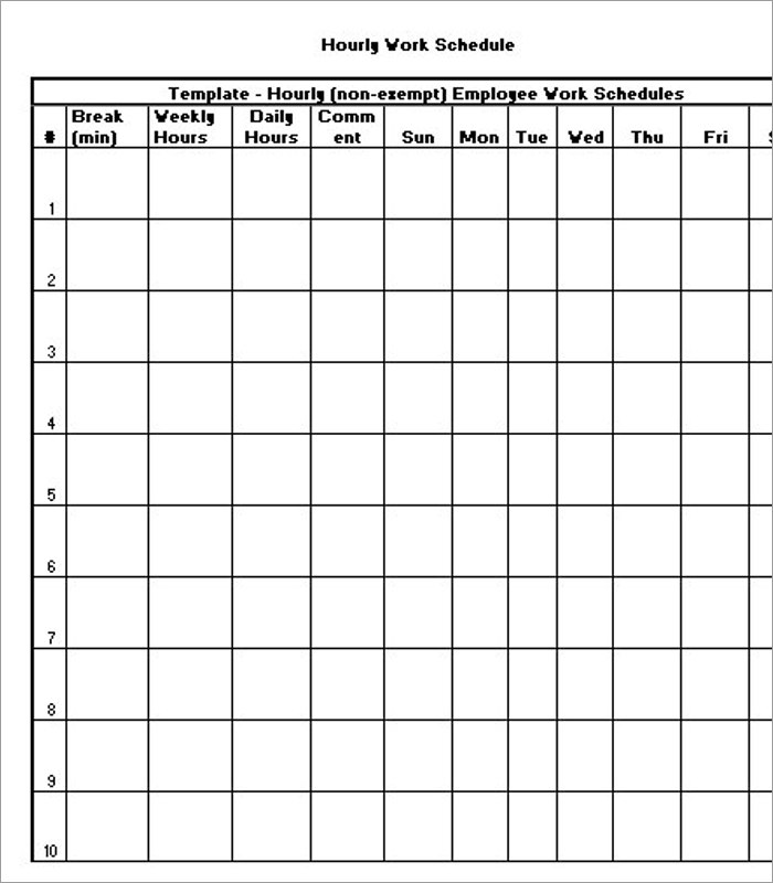 Premium Blank Hourly Schedule Template Doc ...