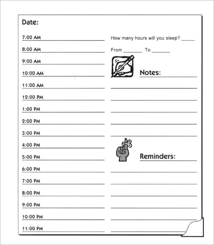 Hourly Schedule Templates Word Pdf Documents Download  Creative
