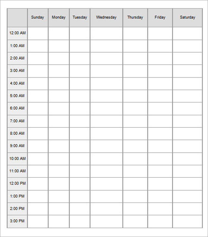 Hourly Schedule Templates Word, PDF Documents Download | Creative ...